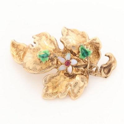 Vintage 14K Yellow Gold Ruby, Opal and Enamel Leaf Brooch