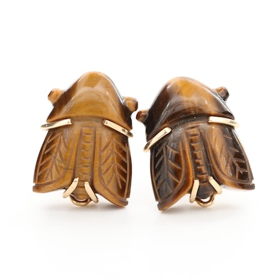 14K Yellow Gold Carved Tiger's Eye Insect Earrings