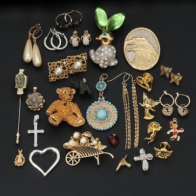 Swarovski Rhinestone, Opal and Cultured Pearl Jewelry with Pinocchio Pendant