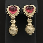 14K Yellow Gold Pink and Green Tourmaline Earrings