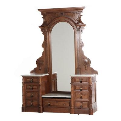 Victorian Renaissance Revival Walnut Dresser with Mirror, Late 19th Century