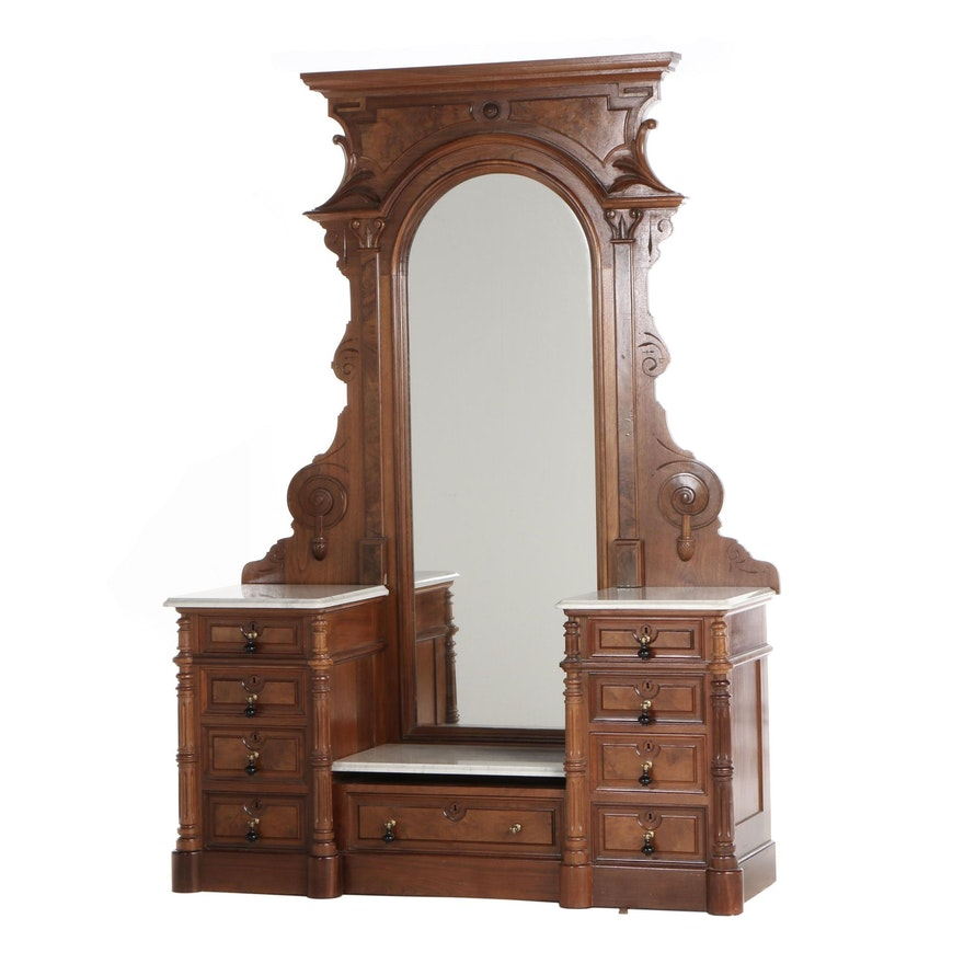Victorian Renaissance Revival Walnut Dresser with Mirror, Late 19th Century
