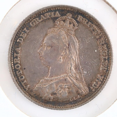 An 1887 Great Britain Silver Shilling, 2nd Portrait Type