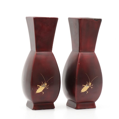 Marumi Japanese Lacquered and Gilt Metal Cricket Motif Vases