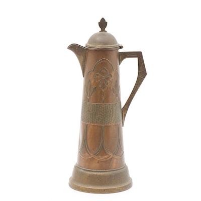 Art Nouveau Secessionist Brass Tankard Pitcher