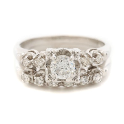 14K White Gold Diamond Ring and Band Set