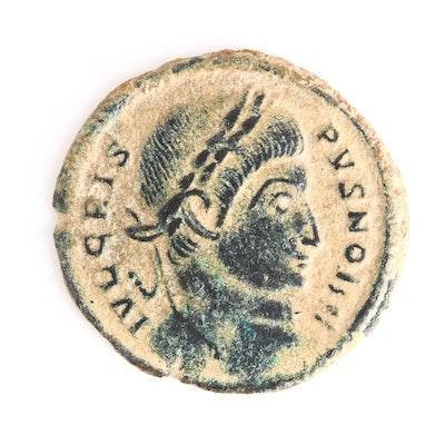 Ancient Roman Imperial AE Reduced Follis of Crispus, ca. 323 A.D.