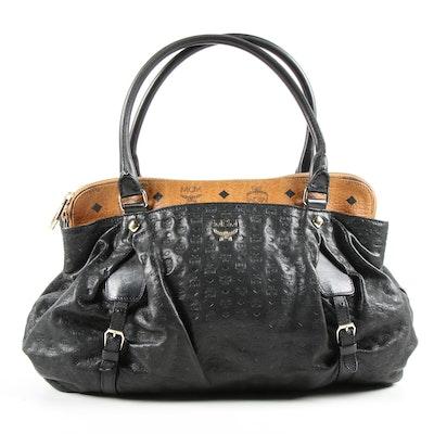 MCM Black Embossed and Visetos Leather Block Satchel