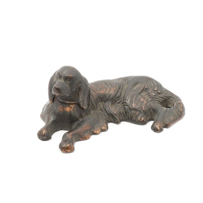 Cast Iron with Copper Finish Irish Setter Paperweight, Early to Mid 20th Century