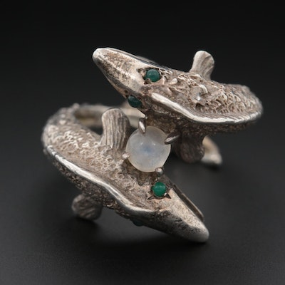 Sterling Silver Moonstone Fish Bypass Ring