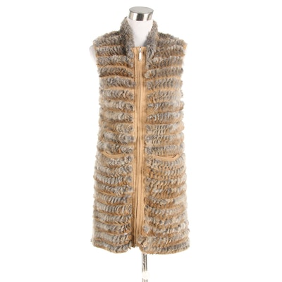 Adrienne Landau Knitted Rabbit Fur Long Vest