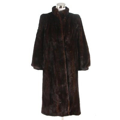 Dark Mahogany Brown Mink Fur Coat with Stand Collar, Vintage