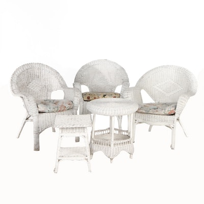 Painted Wicker Patio Furniture, Mid-20th Century