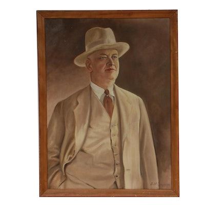 Portrait of Man Oil Painting, Mid 20th Century
