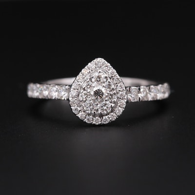 18K White Gold Diamond Teardrop Cluster Ring
