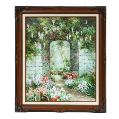 Garden Stone Archway Oil Painting