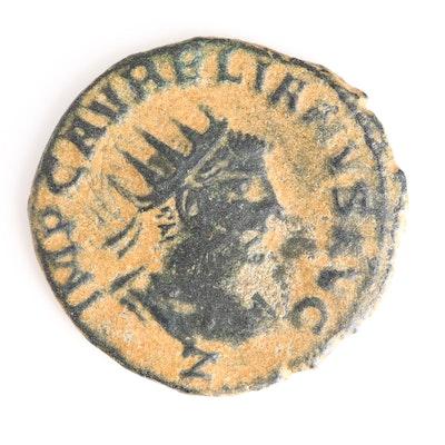 Ancient Roman Imperial AE Antoninianus of Vabalathus and Aurelian, ca. 271 A.D.
