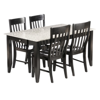 Marble Top Dining Set with Ebonized Side Chairs, Contemporary