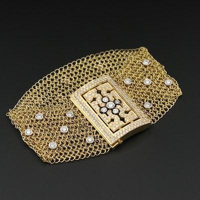 Christian Tse 18K Yellow Gold Chainmail and 2.08 CTW Diamond Bracelet