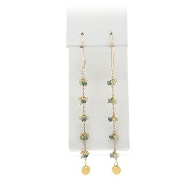 18K, 14K, and 10K Yellow Gold Blue Sapphire Dangle Earrings