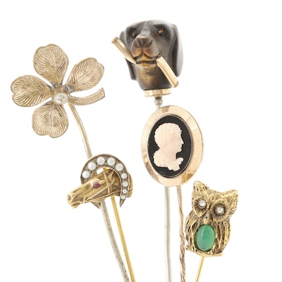 10K Gold Pearl and Glass Horse Pin with Dog, Four Leaf Clover and Cameo Pins
