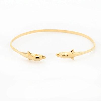 14K Yellow Gold Dolphin Bracelet