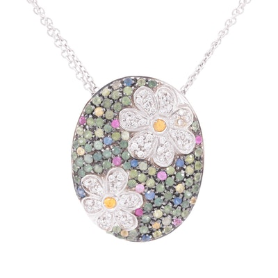 18K White Gold Diamond and Sapphire Oval Pendant Necklace
