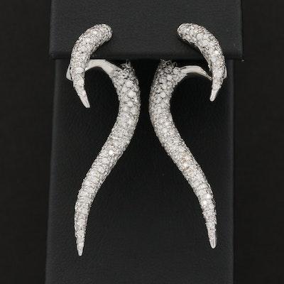 18K White Gold 3.00 CTW Diamond Earrings