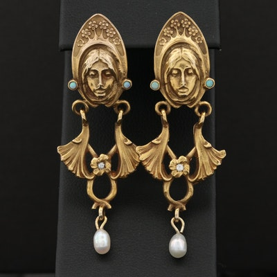 Art Nouveau 14K Yellow Gold Diamond, Opal, and Cultured Pearl Earrings