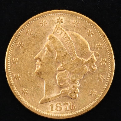 1876-S Liberty Head $20 Gold Coin