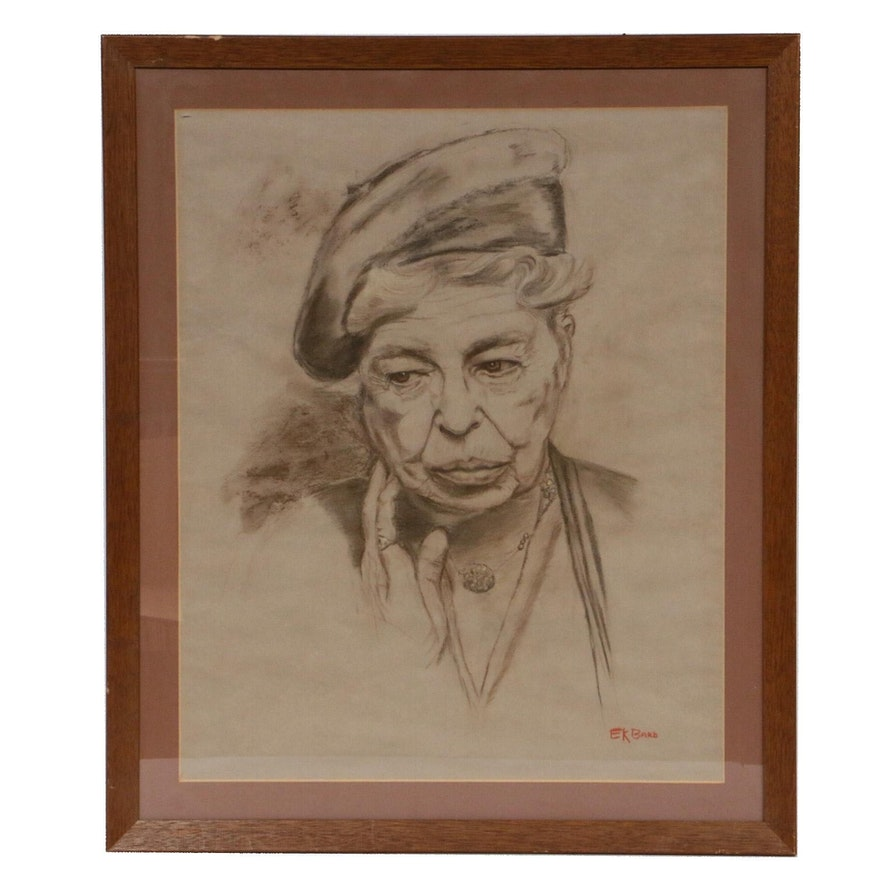 "Eileen K. Bard Charcoal Portrait ""Eleanor Roosevelt"""