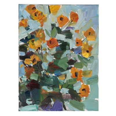 "Jose Trujillo Oil Painting ""Bunches of Poppies"""