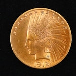 1912 Indian Head Ten Dollar Gold Coin