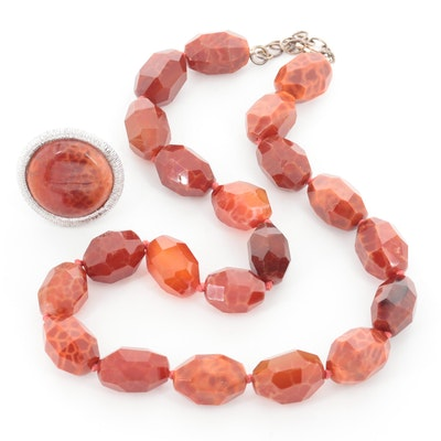 Sterling Silver Agate Beaded Necklace and Textured Ring