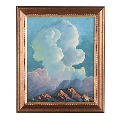 William Hawkins Landscape Oil Painting of Clouds