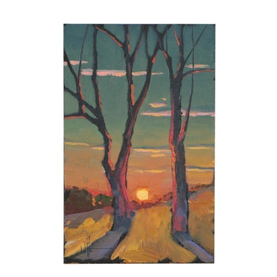 William Hawkins Landscape Oil Painting of Trees at Sunset