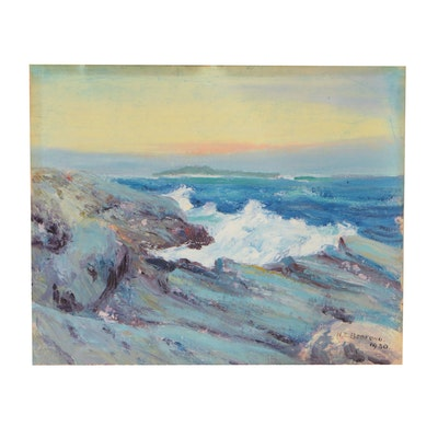 Henry Edward Bedford Seascape Oil Painting, 1930