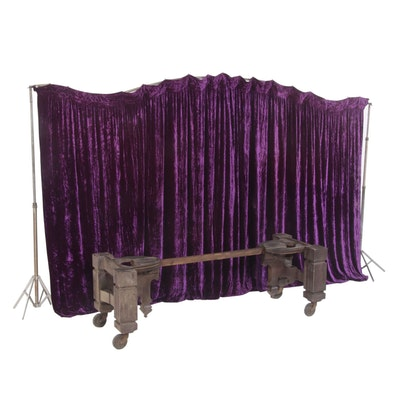 Victorian Wood Funeral Casket Bier and Purple Velvet Backdrop with Travel Case