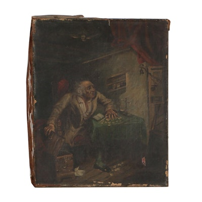 Oil Painting of Old Miser, Mid 19th Century