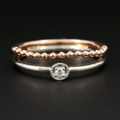 14K White and Rose Gold Diamond Ring