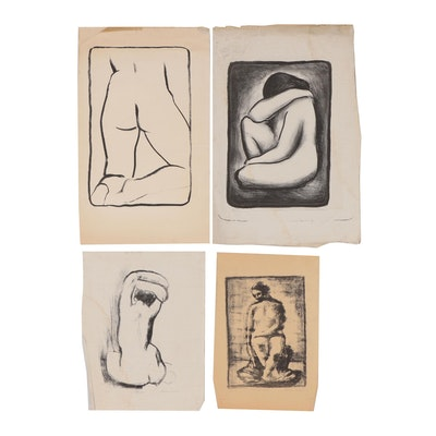 Thomas Eldred Lithograph Studies of Female Nudes