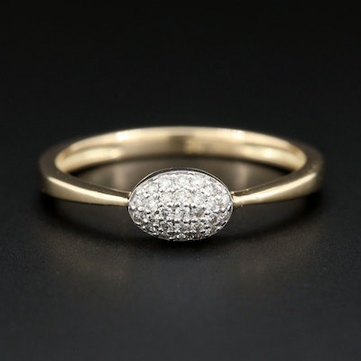 14K Yellow Gold Diamond Pavé Ring with 14K White Gold Accents