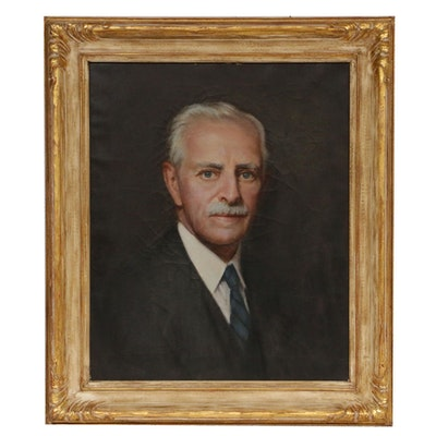 Mid 20th Century Portrait Oil Painting