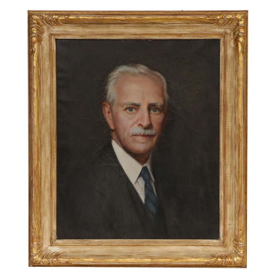 Mid 20th Century Portrait Oil Painting