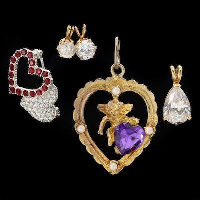 Pendants and Heart Brooch Featuring Cubic Zirconia, Rhinestones and Swarovski