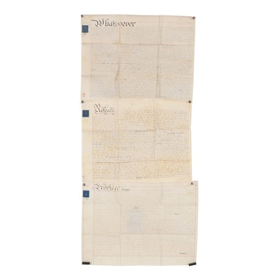 British Indenture Documents on Vellum with Embossed Revenue Stamps, Antique