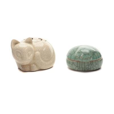 Tiffany & Co. Ceramic Cat Flower Frog  and Kaleidoscope Ceramic Cat Trinket Box