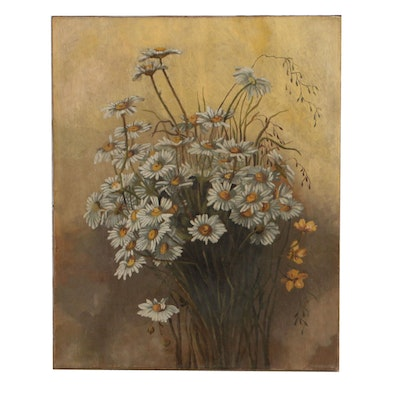 Oil Painting of Shasta Daisies, Early 20th Century
