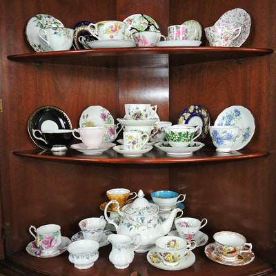 Bone China Teacups Including Royal Albert, Royal Stafford and Others