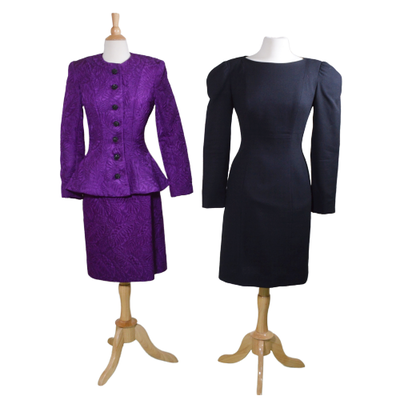 Victor Costa Quilted Suit and Black Wool Dress